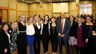 Cary Booker with Dawn Apgar, Mary Ladriau, and some of the SHU student presenters