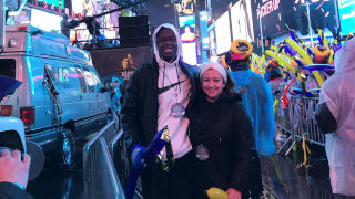Wilner and Alicia conduct interviews in Times Square