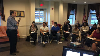 A classroom discussion in the School of Diplomacy and International Relations