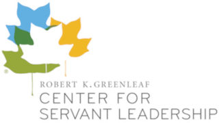 Logo of four different colored leaves hovering over the text