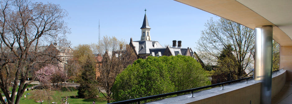 Panoramic shot of campus taken from Jubilee Hall balcony.