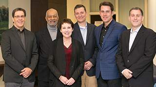 From left to right: Jayson Stark (formerly of ESPN), Charles Grantham (Stillman School of Business), Dean Deirdre Yates (College of Communication and the Arts), B.J. Schecter (Professional-in-Residence), Tom Verducci (Sports Illustrated), and Marc Weiner
