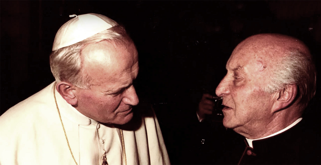Monsignor John M. Oesterreicher with Pope John Paul II