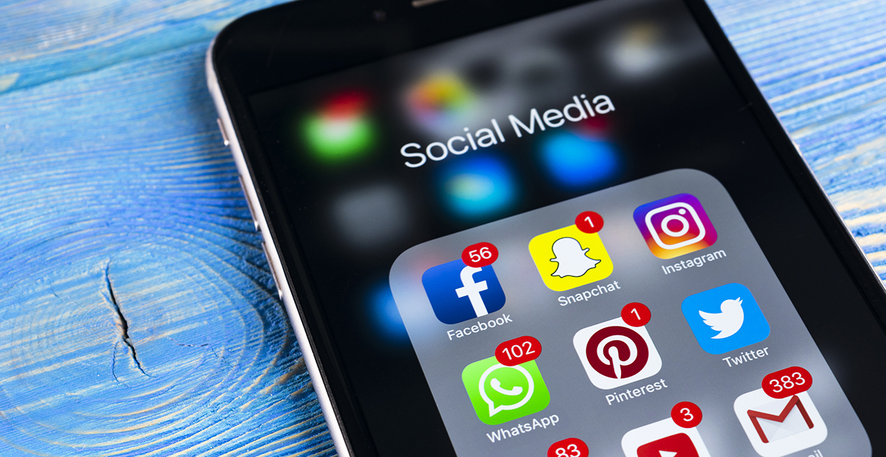 Social Media Apps Displayed on an iPhone