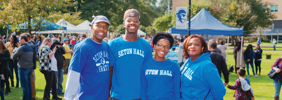 Family of four at Seton Hall Weekend.