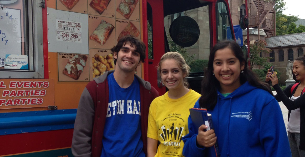 Students at the International Food Truck Festival.