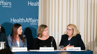 Judith Lucas at Health Affairs Briefing panel discussion.