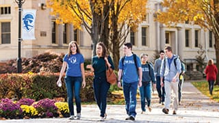 Seton Hall Undergraduate Students Walking on Campus